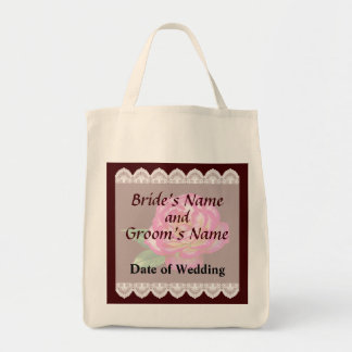 Pink and White Rose Wedding Favors Tote Bag