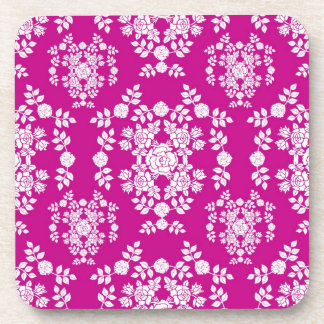 Pink and White Roses Damask Pattern Drink Coaster