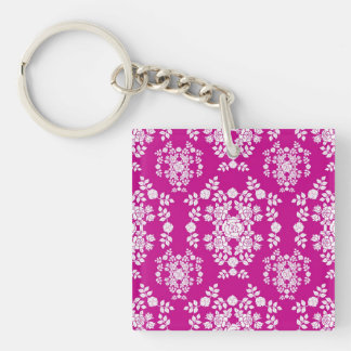 Pink and White Roses Damask Pattern Keychain