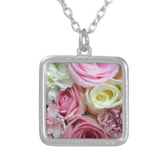 Pink and white roses floral bouquet silver plated necklace
