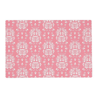 Pink and White Roses Floral Damask Pattern Placemat