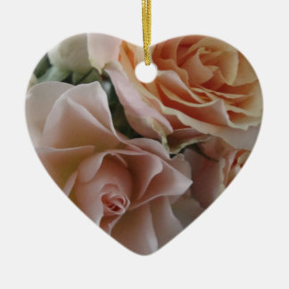 pink and white roses heart orn ceramic ornament