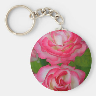 Pink and white roses keychain