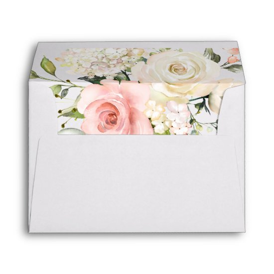 Pink and White Roses White Hydrangeas Greenery Envelope