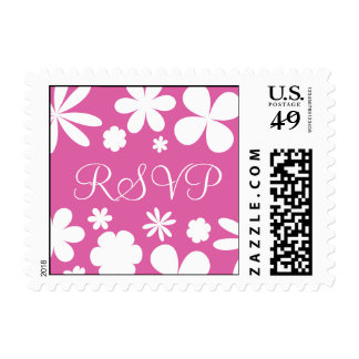Pink and White RSVP Flower Power Postage