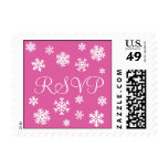 Pink and White RSVP Snowflakes Postage