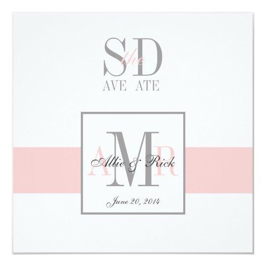 Pink and White Save the Date Wedding Announcement