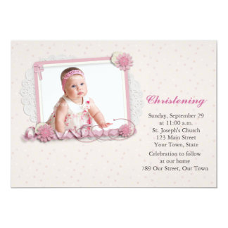 Pink and White Scrap-style Religious Photo Card