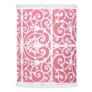 Pink and white scrollwork lamp shade