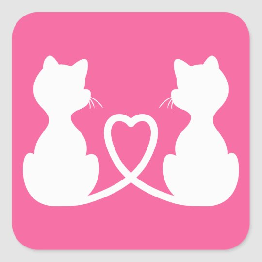 Pink And White Silhouette Of Two Cats In Love Square Sticker