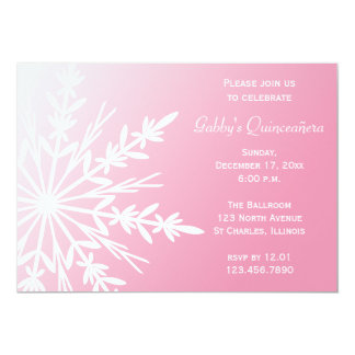 Pink and White Snowflaken Winter Quinceañera 5x7 Paper Invitation Card