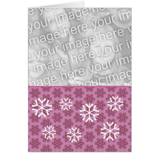 Pink and White Snowflakes Christmas Photo v2 Card