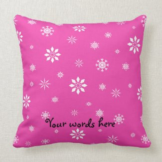 Pink and white snowflakes pillow