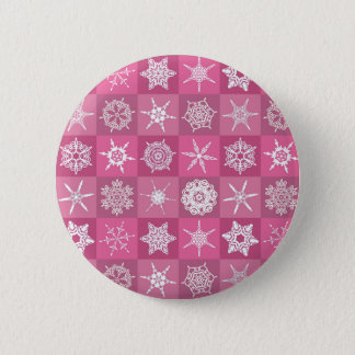 Pink and White Snowflakes Pinback Button