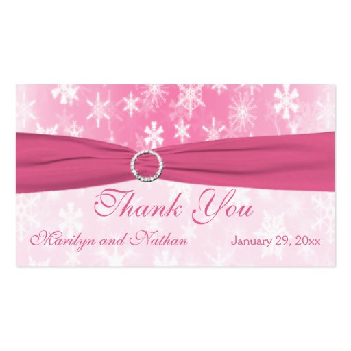 Pink and White Snowflakes Wedding Favor Tag Business Cards