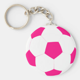 Pink and White Soccer Ball Basic Round Button Keychain