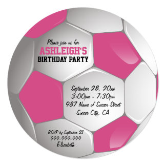 Pink and White Soccer Ball Birthday Party Card