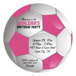Pink and White Soccer Ball Birthday Party Personalized Invites