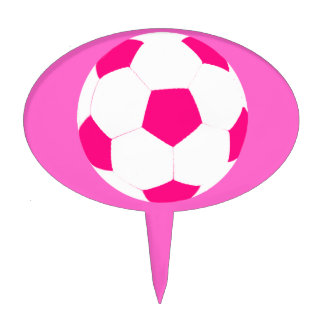 Pink and White Soccer Ball Cake Topper