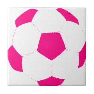 Pink and White Soccer Ball Ceramic Tile
