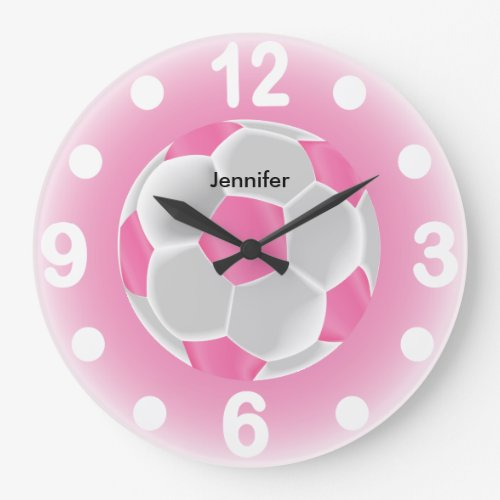 Pink and White Soccer Ball Large Clock