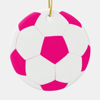 Pink and White Soccer Ball Double-Sided Ceramic Round Christmas Ornament
