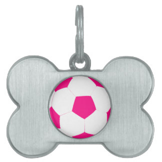 Pink and White Soccer Ball Pet Name Tag