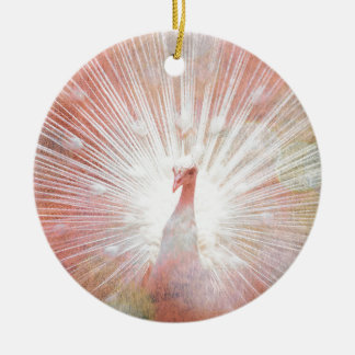 Pink and White Soft Focus Lights Peacock Ceramic Ornament