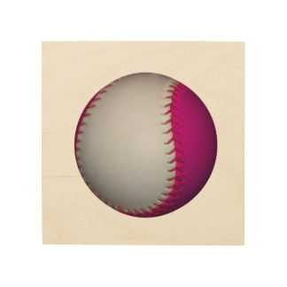 Pink and White Softball Wood Canvas