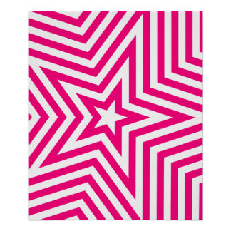 Pink and White Star Kaleidoscope Pattern Poster