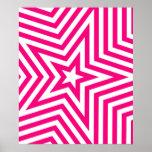 Pink and White Star Kaleidoscope Pattern Print