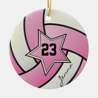 Pink and White Star Volleyball Ceramic Ornament