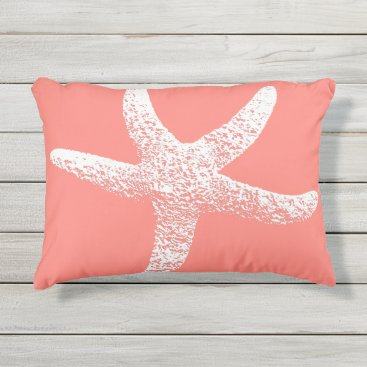 Beach Themed Pink and White Starfish Outdoor Accent Pillow