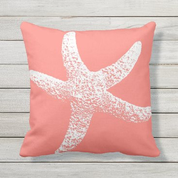 Beach Themed Pink and White Starfish Outdoor Throw Pillow