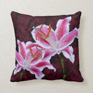 Pink and White Stargazer Lily Close Up Photograph Pillows