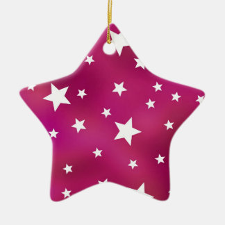 Pink and White Stars Ceramic Ornament