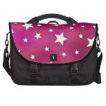 Pink and White Stars Laptop Messenger Bag