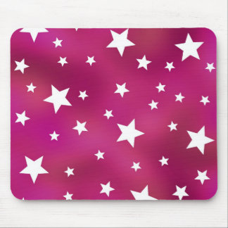 Pink and White Stars Mouse Pads