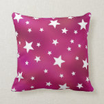 Pink and White Stars Throw Pillows