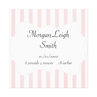 Pink and White Stripe Baby Canvas Print