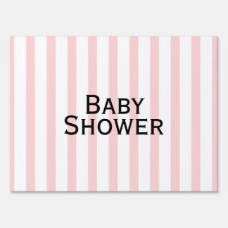 Pink and White Stripe Baby Shower Yard Sign
