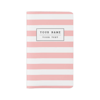 Pink and White Stripe Pattern Large Moleskine Notebook