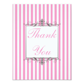 Pink and White Stripe with Silver Thank You Card