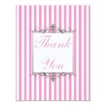 Pink and White Stripe with Silver Thank You Card Personalized Invites