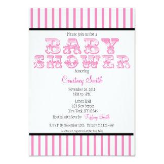 Pink and White Striped Circus Baby Shower Invitati Card