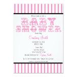 "Pink and White Striped Circus Baby Shower Invitati 5"" X 7"" Invitation Card"