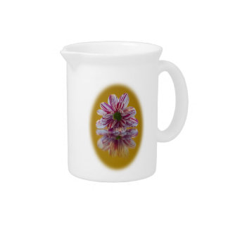Pink and White Striped Daisy Gerbera Drink Pitcher