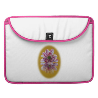 Pink and White Striped Daisy Gerbera Sleeve For MacBooks