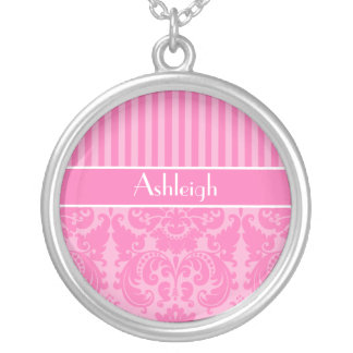 Pink and White Striped Damask Necklace