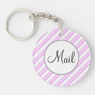 Pink and White Striped Mail Key Keychain
